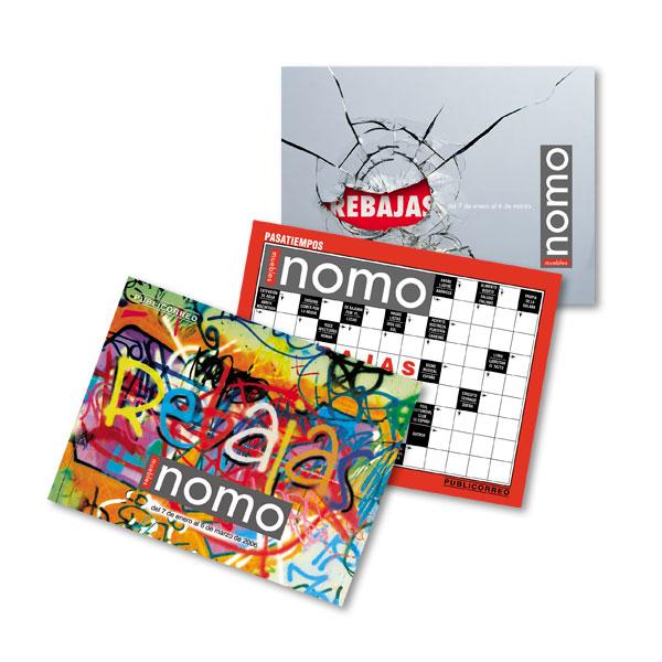 Impresos publicitarios: Muebles Nomo, tarjetas-mailing campañas de rebajas