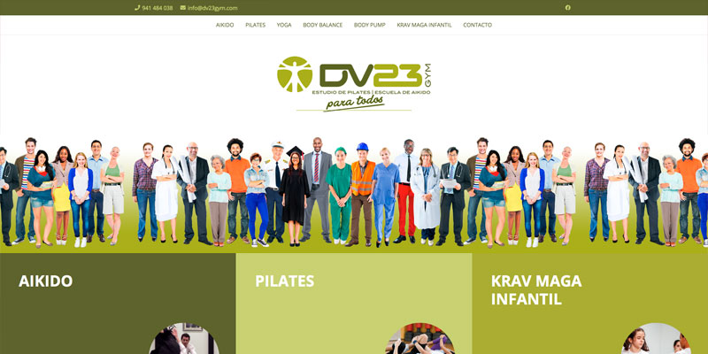 "Sitio web: Gimnasio DV""· Gym"